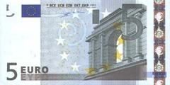 5 евро 2002 г. (Европейский союз).