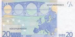 20 евро 2002 г. (Европейский союз).