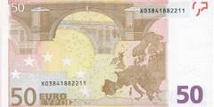 50 евро 2002 г. (Европейский союз).