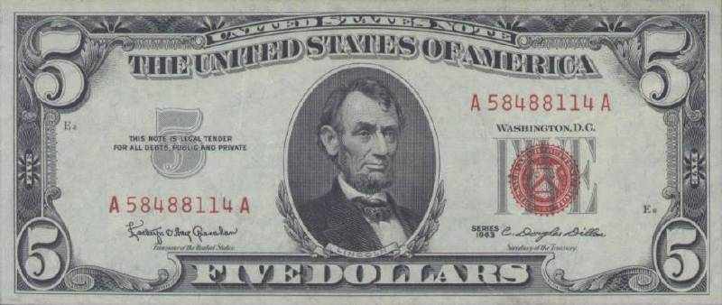 5 долларов 1963 г. красная печать (США)