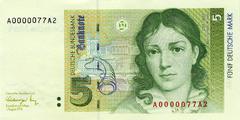 5 немецких марок 1991 г. (Германия).