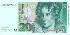 20 немецких марок 1991 г. (Германия).