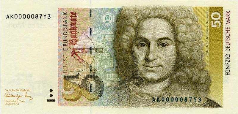 50 немецких марок 1989 г. (Германия).