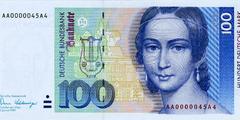 100 немецких марок 1989 г. (Германия).