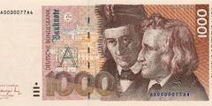 1000 немецких марок 1991 г. (Германия).
