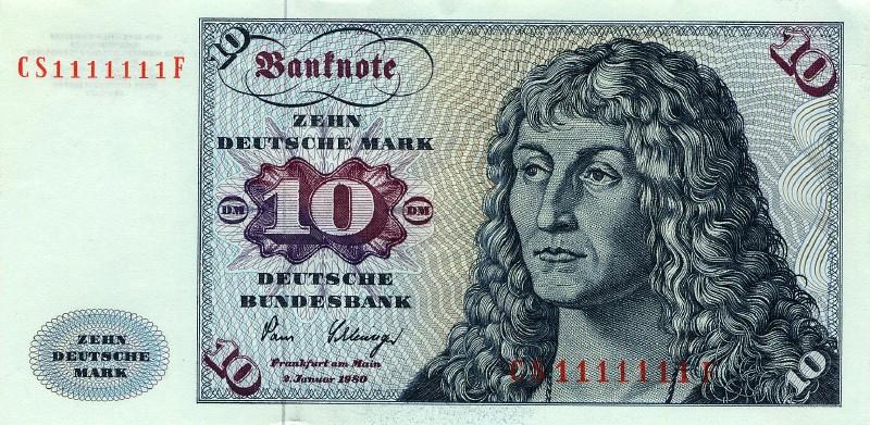10 немецких марок 1970 г., 1977 г., 1980 г. (Германия).