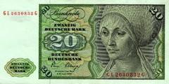 20 немецких марок 1970 г., 1977 г., 1980 г. (Германия).