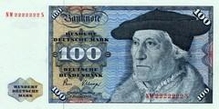 100 немецких марок 1970 г., 1977 г., 1980 г. (Германия).