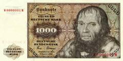 1000 немецких марок 1977 г., 1980 г. (Германия).