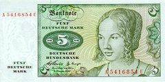 5 немецких марок 1960 г. (Германия).