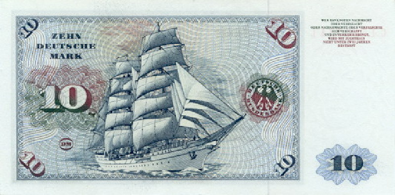 10 немецких марок 1960 г. (Германия).