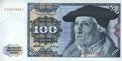 100 немецких марок 1960 г. (Германия).