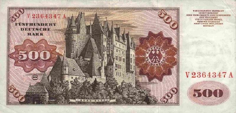 500 немецких марок 1960 г. (Германия).
