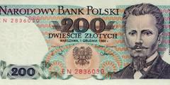 200 злотых 1976 г., 1979 г., 1982 г., 1986 г., 1988 г. (Польша).