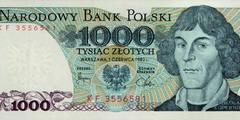 1000 злотых 1975 г., 1977 г., 1979 г., 1982 г. (Польша).