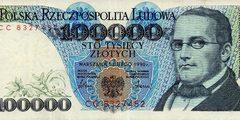 100000 злотых 1990 г. (Польша).