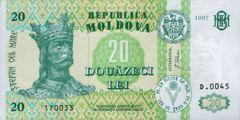 20 леев 1992 г., 1995 г., 1997 г., 1999 г., 2002 г., 2004 г., 2005 г., 2006 г., 2010 г. (Молдова).