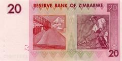 20 долларов 2007 г. (Зимбабве).