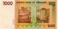 1000 долларов 2007 г. (Зимбабве).