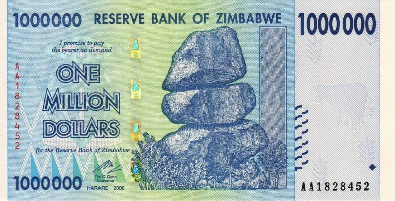 1 000 000 долларов 2008 г. (Зимбабве).