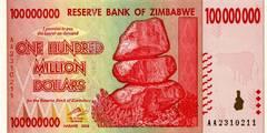 100 000 000 долларов 2008 г. (Зимбабве).
