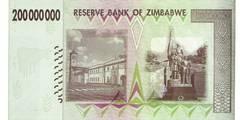 200 000 000 долларов 2008 г. (Зимбабве).