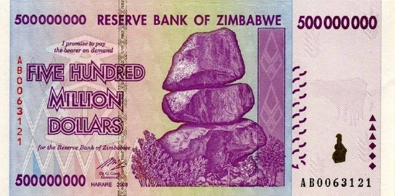 500 000 000 долларов 2008 г. (Зимбабве).