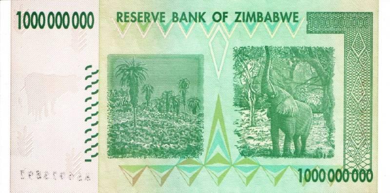 1 000 000 000 долларов 2008 г. (Зимбабве).