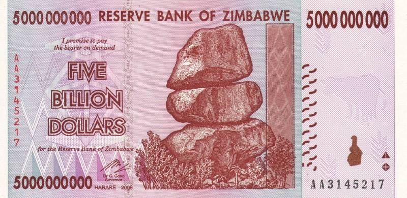5 000 000 000 долларов 2008 г. (Зимбабве).