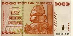 50 000 000 000 долларов 2008 г. (Зимбабве).