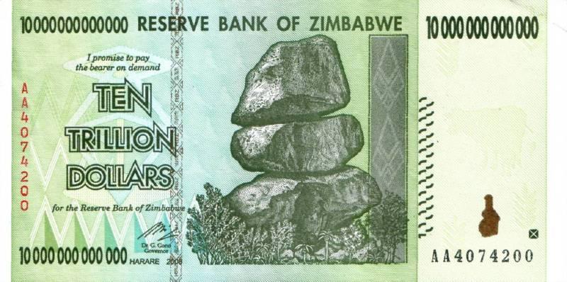 10 000 000 000 000 долларов 2008 г. (Зимбабве).