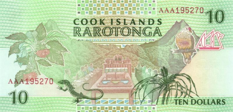 10 долларов ND (1992) (Острова Кука) P-8
