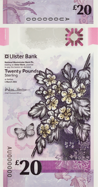 Ulster Bank 20 pounds 2020